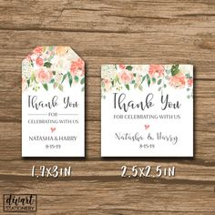 Wedding Favor Tag, Bridal Shower Favor Tag, Baby Shower Tag, Thank You Tag, Hang Tag, Label - PRINTABLE pdf - watercolor flowers - Natasha by DIVart on Etsy