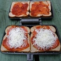 Make pizza in your pie iron with biscuit dough.   41 Genius Camping Hacks You'll Wish You Thought Of Sooner