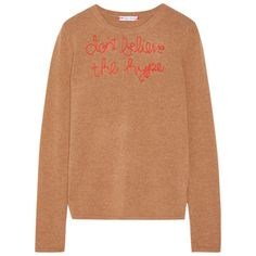 LINGUA FRANCA Don't Believe The Hype embroidered cashmere sweater Sand cashmere Slips on cashmere Hand wash Designer color: Oatmeal Imported Beige Top, Beige Sweater, Workout Tops, Cashmere Sweaters, Knitwear, My Style, How To Wear, Sweater Embroidery, Crewneck Sweater