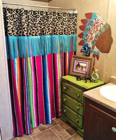 "Pink serape/leopard shower curtain with turquoise fringe. 70""X70"" (Shower curtains are an original handmade item by Red Dirt Revivals. We are currently in the process of shortening our turnaround time and building our inventory. Please allow time for your items to be made. If you have any questions please feel free to email or send a message on Facebook! Thank you so much. -Megan)"