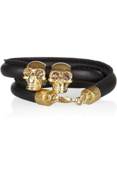 McQueen, Skull Leather wrap bracelet