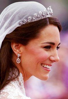 "Kate Middleton with the gorgeous Cartier ""Halo"" Tiara and the oak diamond earrings."