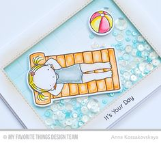 MFT June Release Countdown Day 3 @akossakovskaya #cardmaking #mftstamps.PI girl from Fun in the Sun set relaxing in the pool. It's a shaker card where the pool is a the shaker! I even made tile at the bottm of the pool using score lines and some blending to add water-looking effect. The shaker is filled with aquamarine and clear sequins. And the girl's die-cut is glued to the transparency.