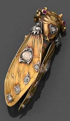 An antique gold, diamond and ruby cicada brooch, 19th century. 4.5cm long. #antique #brooch