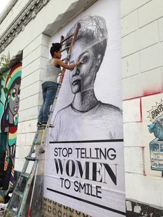 Stop Telling Women to Smile is an art series by Tatyana Fazlalizadeh. The work attempts to address gender based street harassment by placing drawn portraits of women, composed with captions that speak directly to offenders, outside in public spaces. Fashion Installation, Installation Art, Street Harassment, Female Art, Female Power, A Level Art, City Of Angels, Art Series, Best Artist