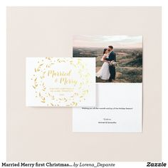 Married Merry first Christmas Wreath Wedding photo Foil Card Paper Envelopes, White Envelopes, First Christmas Married, Foil Card, Thank You Messages, Colored Paper, Zazzle Invitations, Paper Texture, Christmas Wreaths