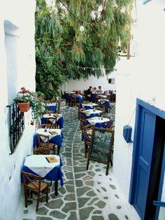 Naxos, Greece courtyard cafes loved them