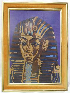 Vintage Needlepoint Ramses Egyptian Pharaoh Regency Hollywood Framed Male Head  | eBay