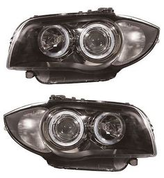 Bmw 1 series e87 5 door #hatch #2004-3/2007 headlights #angel eyes black 1 pair,  View more on the LINK: http://www.zeppy.io/product/gb/2/262284673977/