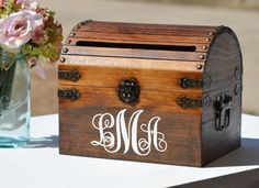 Monogrammed Card Box Rustic Wedding Card Holder With Slot