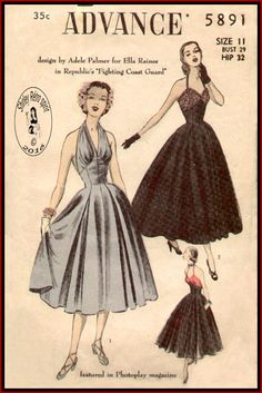 Advance 5891 - 1951  Vintage Sewing Patterns Advance Designer Adele Palmer Movies 1950s Dresses Halter Contrast Full Skirts Pleats Lace Gathers Evening Sun Dresses Sleeveless Sweetheart Draped Inverted Pleats