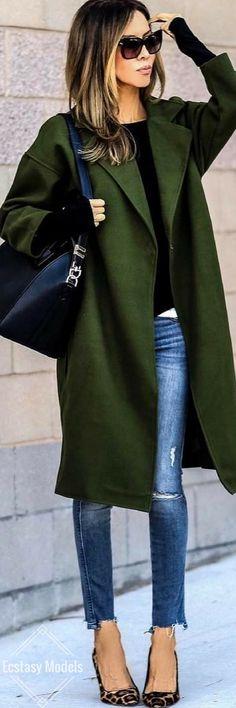 Notch Lapel Long Woolen Coat // Fashion Look by Sasha Simon