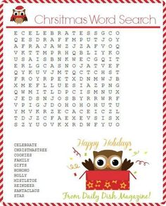 Free Christmas Word Search Printable PLUS Free Christmas Maze Printable, Cryptogram and Coloring Pages! Christmas Maze, Christmas Puzzle, Christmas Words, Christmas Party Games, Christmas Colors, Christmas Projects, Winter Christmas, Holiday Crafts, Holiday Fun
