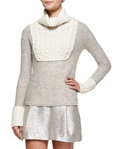 Tory Burch Gretchen Mixed-Knit Turtleneck Sweater, Sandshell