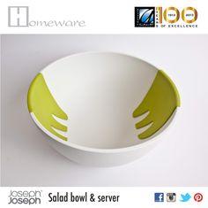 Salad bowl & server from Joseph Joseph UK - Salad bowl and hands on for mixing - Melamine-food safe - White & green - BD 20 Joseph Joseph, Salad Bowls, Good Company, Safe Food, Hands, Green, Products, Gadget