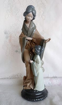 "Spain Lladro NAO 15"" Japanese Geisha Oriental Asian Mother Child Figure 