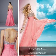 """Spaghetti strap A-Line long dress with fully beaded bodice and straps, a pleated waist, and a flowy layered chiffon skirt with train."""