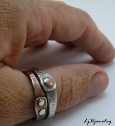 Ring Copper Sterling Silver Cold Connections by LjBjewelry on Etsy, $28.00