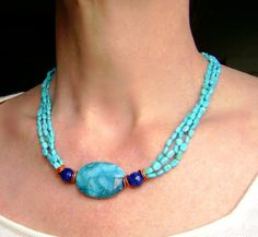 Turquoise Necklace Blue Agate Gemstone Jewelry Crazy by MariesGems, $39.00 #shopetsy #boebot #etsysns