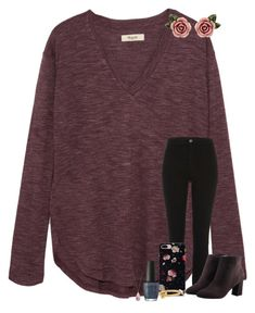 """""""rosy """" by haileyelizabethxoxo ❤ liked on Polyvore featuring Madewell, River Island, Kate Spade, OPI, Avon, Dolce&Gabbana and haileyelizabethxoxo"""