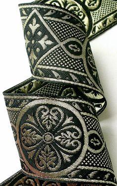 "Woven Jacquard Ribbon - 2 3/8"" x 1 yard  Metallic gold and Black Renaissance Style Trim"