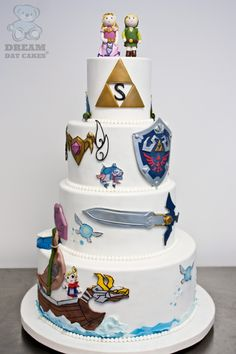 Dream Day Cakes was honored to create a Zelda Wedding cake for a Legend of Zelda themed wedding in Jacksonville, FL. Anime Wedding, Fantasy Wedding, Zelda Cake, Video Game Cakes, Video Games, Video Game Wedding, Zelda Birthday, Cake Blog, Cake Gallery