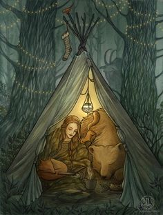 Winter's Eve by UnripeHamadryad female ranger druid hunter huntress bear squirrel fox woods tent armor clothes clothing fashion player character npc | Create your own roleplaying game material w/ RPG Bard: www.rpgbard.com | Writing inspiration for Dungeons and Dragons DND D&D Pathfinder PFRPG Warhammer 40k Star Wars Shadowrun Call of Cthulhu Lord of the Rings LoTR + d20 fantasy science fiction scifi horror design | Not Trusty Sword art: click artwork for source
