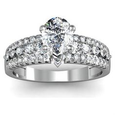 Buy.com - 1.40 Ct Pear Shaped 3 Row Round Petite Diamond Engagement Ring SI1-F COLOR GIA