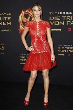 In Marchesa at the Berlin Premiere of The Hunger Games. See all of Jennifer Lawrence's best looks.