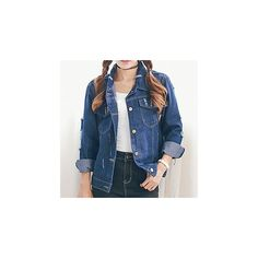 Distressed Washed Denim Jacket (£24) ❤ liked on Polyvore featuring outerwear, jackets, women, distressed jacket, distressed jean jacket, jean jacket, cotton jacket and blue jean jacket