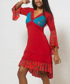 Look at this #zulilyfind! Red Floral-Accent Midi Dress - Women #zulilyfinds