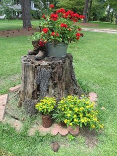 ideas for tree stump in yard