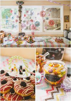 nature friends los angeles fine art wedding photographer_diy dessert table_lego cake topper_donut wedding cake