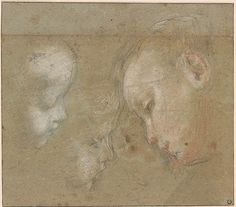 Federigo Barocci | Two Studies of the Head of an Infant in Profile to the Right and one of the Head of a Child Looking Down to the Left || The Morgan Library & Museum