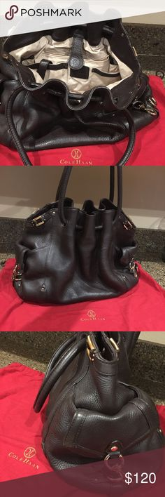 Cole Haan Double Strap Drawstring Shoulder Bag Cole Haan chocolate brown pebbled leather handbag. Generous in size and has a lot of pockets inside and out. Heavy gold hardware. Excellent used condition. Still looks new and comes with original dust bag. Cole Haan Bags Shoulder Bags