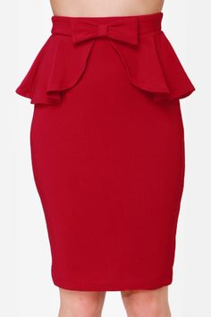 Since you've been gifted with such great assets, you may as well show them off with the Make Your Presents Known Red Pencil Skirt! Stretchy midi skirt with a peplum. Red Skirts, Casual Skirts, Short Skirts, Chic Outfits, Fashion Outfits, Women's Fashion, Frilly Skirt, Designs For Dresses, Peplum Dress
