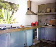 Cement kitchen, cement wall and shelf