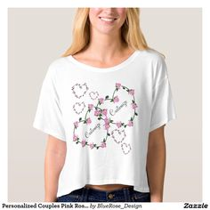 Personalized Couples Pink Rose HeartT-Shirt T-shirt