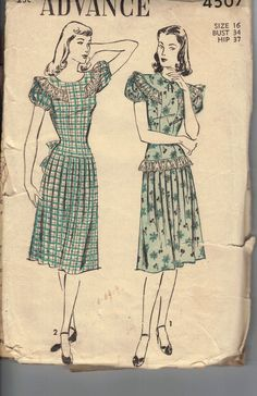 Vintage 1940s Womens Dress Pattern, Advance 4507 Sewing Pattern, Size 16. Pattern is unprinted and complete/    Measurements  Bust 34  Hip 37