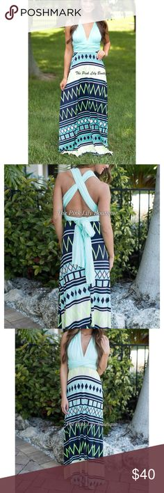 Aztec wrap maxi dress Brand new with tags. Beautiful mint, green, navy color way. From pink lily boutique. Wrap dress. Wrap however you want! pink lily boutique Dresses Maxi