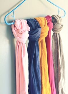 Organise scarves on a hanger to save space. (This would be a good idea if my wardrobe wasn't chock-a-block full)