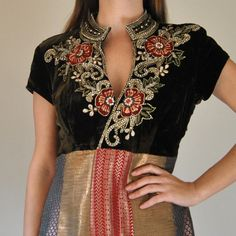 Velvet Embroidered Sari Dress  //  Bohemian Metallic Brocade Jewel Encrusted Cocktail Party Dress  //  Heavy Beaded Sequin Indian Embroidery.