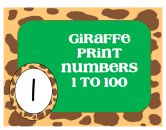Giraffe Print Numbers 1-100 product from Classroom-Snapshots on TeachersNotebook.com
