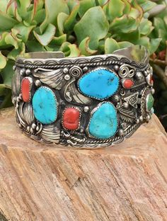 Massive Vintage Sterling Silver Navajo Cuff Bracelet Turquoise