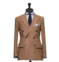 Tailored Jacket – Fabric 7824 Houndstooth Brown Cloth weight: 310g Composition: 100% Wool Super 100's