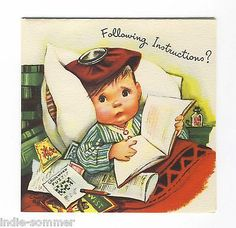 Charlot Byj Vintage Get Well Card Cute Little Boy Sick in Bed Unused | eBay