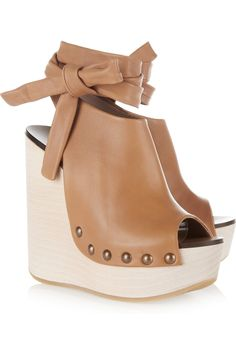 Chloe Studded leather wedge sandals
