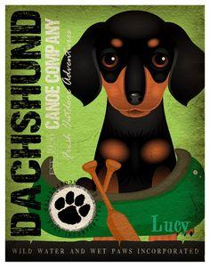 Dachshund Canoe Company Original Art Print  by DogsIncorporated, $29.00