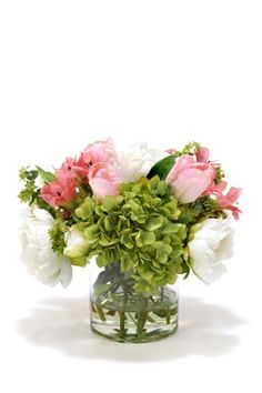 Green Hydrangeas, White Peonies and Pink Tulips in Cylinder Glass.