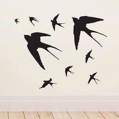 Flying Swallows Vinyl Wall Sticker - wall stickers by room Childrens Wall Stickers, Vinyl Wall Stickers, Wall Decals, Wall Art, Contemporary Wall Stickers, Flying Bird Silhouette, Animal Silhouette, Silhouette Tattoos, Art Painting Gallery